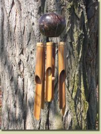 full coconut top bamboo wind chime