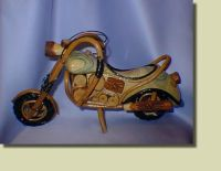 wooden motorcycle carving